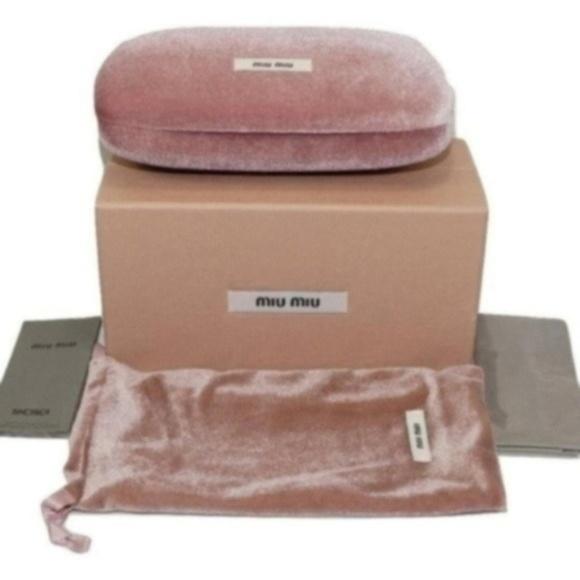44332f6e88bf Miu Miu Accessories   Pink Velour Clamshell Hard Sunglasses Case ...